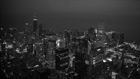"""ночь, город, черно-белое.  Оригинал схемы вышивки  """"ночь """"."""